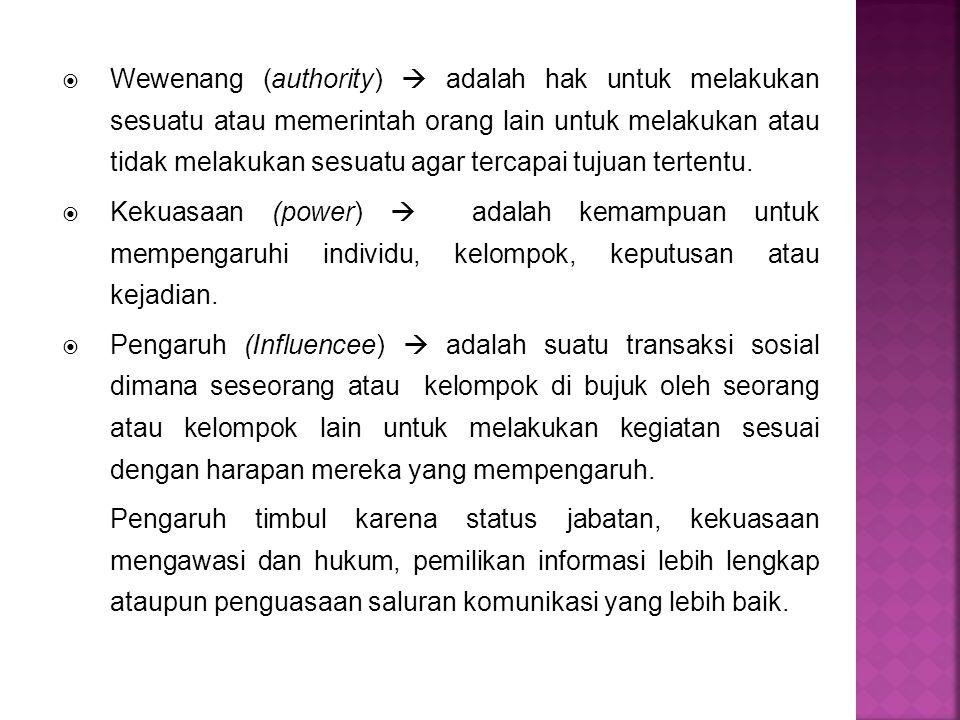  Wewenang (authority)  adalah hak untuk melakukan sesuatu atau memerintah orang lain untuk melakukan atau tidak melakukan sesuatu agar tercapai tuju