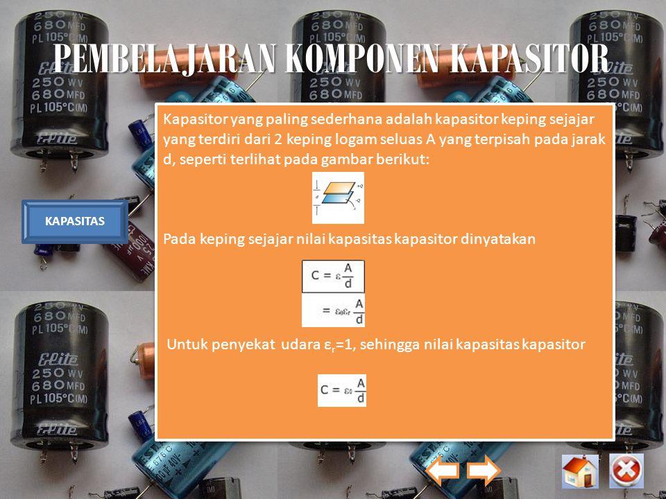 PEMBELAJARAN KOMPONEN KAPASITOR KAPASITAS Kapasitor yang paling sederhana adalah kapasitor keping sejajar yang terdiri dari 2 keping logam seluas A ya