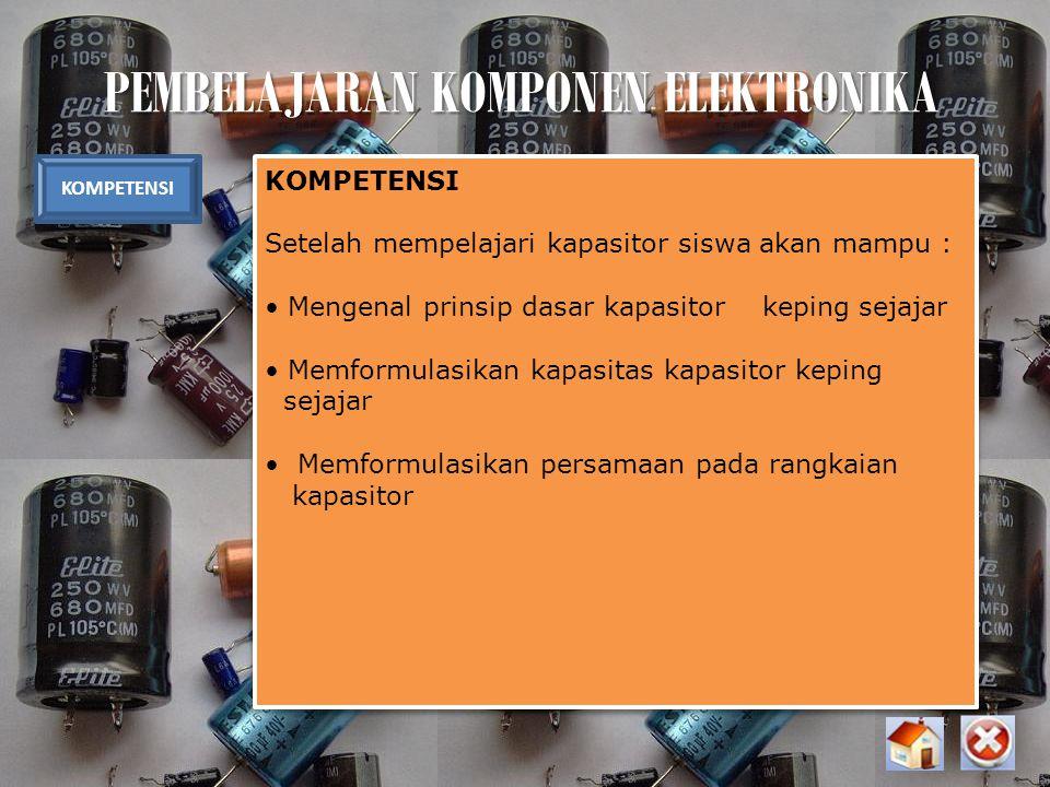 PEMBELAJARAN KOMPONEN ELEKTRONIKA KOMPETENSI Setelah mempelajari kapasitor siswa akan mampu : Mengenal prinsip dasar kapasitor keping sejajar Memformu