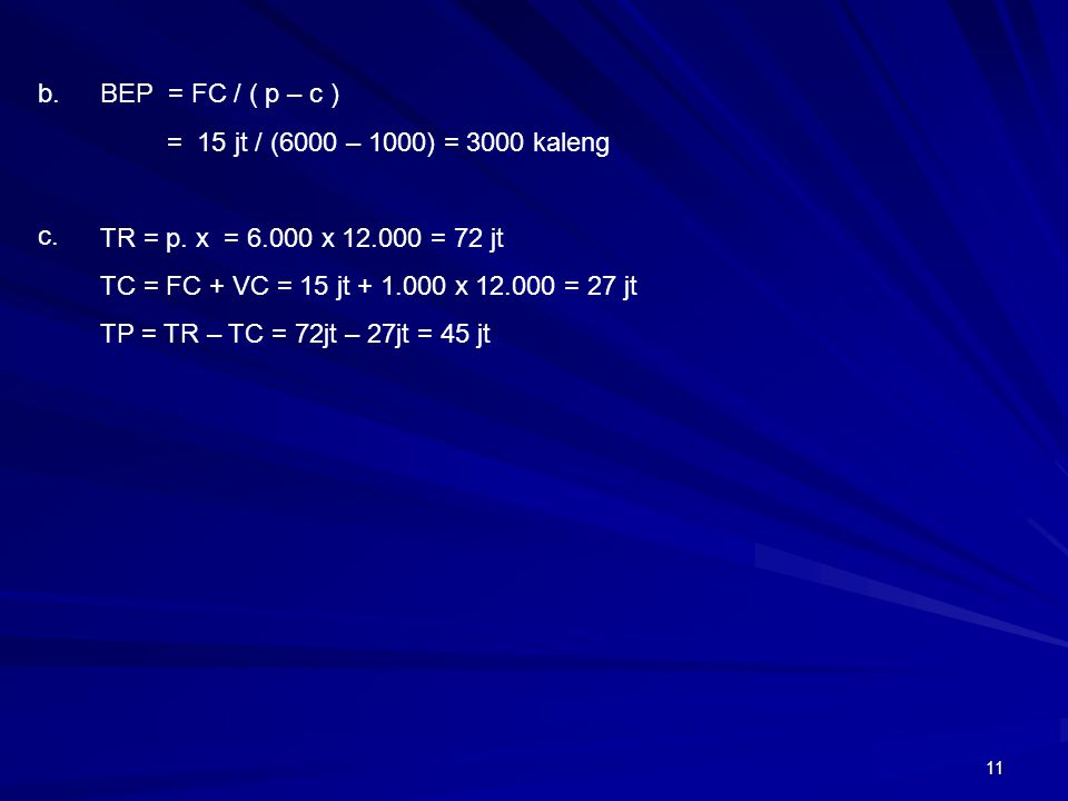 11 BEP = FC / ( p – c ) = 15 jt / (6000 – 1000) = 3000 kaleng TR = p. x = 6.000 x 12.000 = 72 jt TC = FC + VC = 15 jt + 1.000 x 12.000 = 27 jt TP = TR