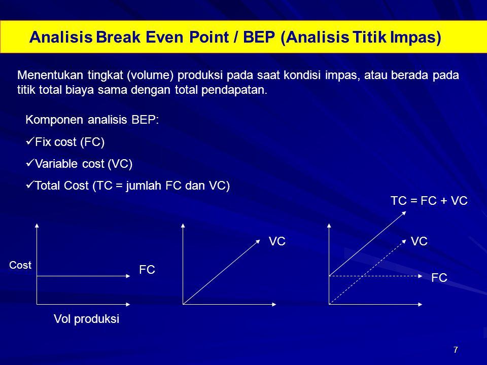 7 Analisis Break Even Point / BEP (Analisis Titik Impas) Menentukan tingkat (volume) produksi pada saat kondisi impas, atau berada pada titik total bi