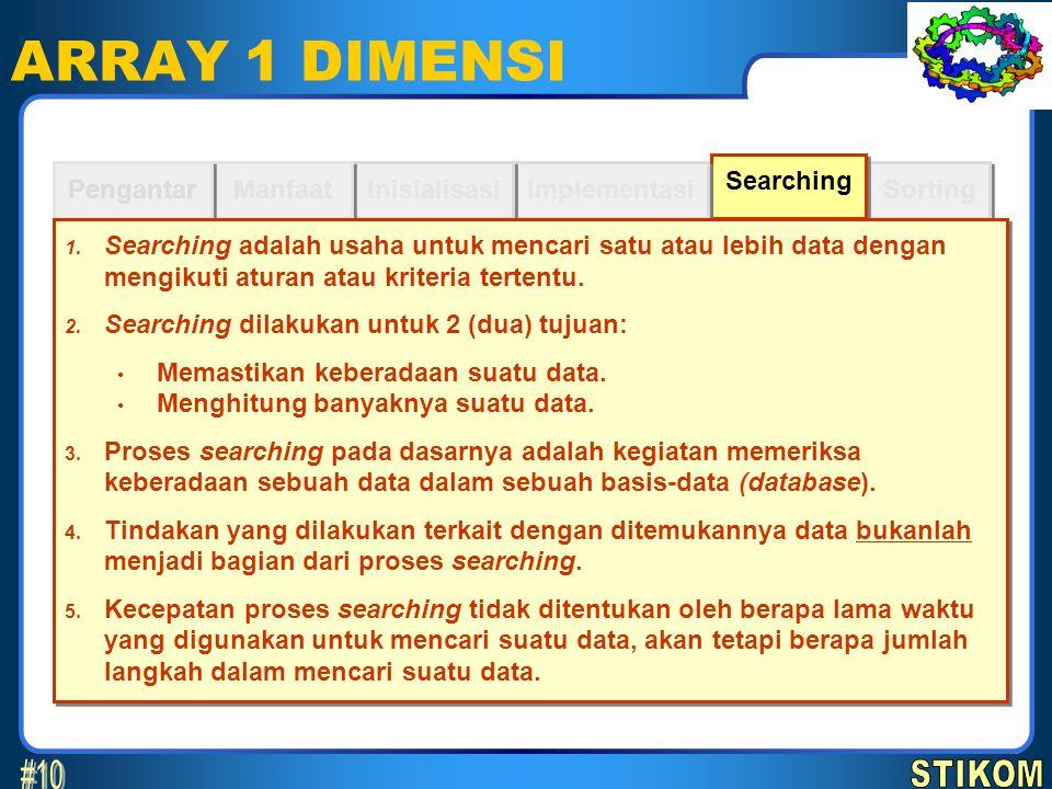 Sorting Searching ARRAY 1 DIMENSI Implementasi Inisialisasi Manfaat Pengantar 1. Searching adalah usaha untuk mencari satu atau lebih data dengan meng