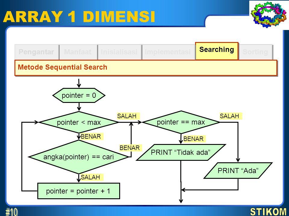 Sorting Searching ARRAY 1 DIMENSI Implementasi Inisialisasi Manfaat Pengantar Metode Sequential Search pointer = 0 pointer < max pointer = pointer + 1
