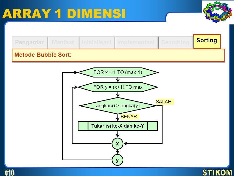 Sorting Searching ARRAY 1 DIMENSI Implementasi Inisialisasi Manfaat Pengantar Metode Bubble Sort: FOR x = 1 TO (max-1) FOR y = (x+1) TO max angka(x) >