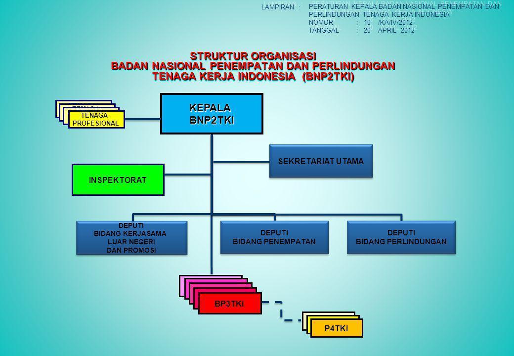STRUKTUR ORGANISASI BADAN NASIONAL PENEMPATAN DAN PERLINDUNGAN TENAGA KERJA INDONESIA (BNP2TKI) KEPALABNP2TKI DEPUTI BIDANG PENEMPATAN DEPUTI BIDANG PENEMPATAN DEPUTI BIDANG PERLINDUNGAN DEPUTI BIDANG PERLINDUNGAN BP3TKI INSPEKTORAT P4TKI SEKRETARIAT UTAMA DEPUTI BIDANG KERJASAMA LUAR NEGERI DAN PROMOSI DEPUTI BIDANG KERJASAMA LUAR NEGERI DAN PROMOSI TENAGA PROFESIONAL TENAGA PROFESIONAL TENAGA PROFESIONAL TENAGA PROFESIONAL BP3TKI P4TKI LAMPIRAN : PERATURAN KEPALA BADAN NASIONAL PENEMPATAN DAN PERLINDUNGAN TENAGA KERJA INDONESIA NOMOR: 10 /KA/IV/2012 TANGGAL: 20 APRIL 2012 PERATURAN KEPALA BADAN NASIONAL PENEMPATAN DAN PERLINDUNGAN TENAGA KERJA INDONESIA NOMOR: 10 /KA/IV/2012 TANGGAL: 20 APRIL 2012
