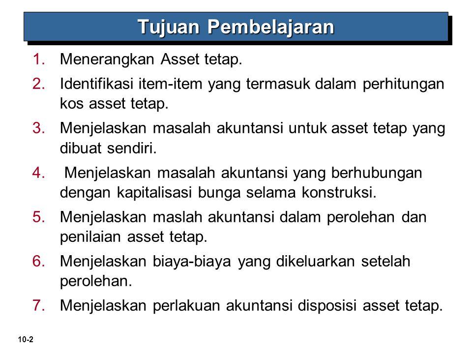 10-2 1. 1.Menerangkan Asset tetap. 2. 2.Identifikasi item-item yang termasuk dalam perhitungan kos asset tetap. 3. 3.Menjelaskan masalah akuntansi unt