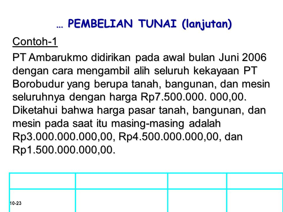 10-23 … PEMBELIAN TUNAI (lanjutan) … PEMBELIAN TUNAI (lanjutan) Contoh-1 PT Ambarukmo didirikan pada awal bulan Juni 2006 dengan cara mengambil alih s