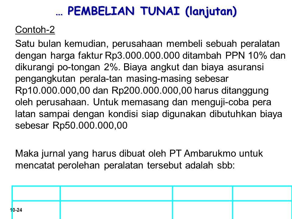 10-24 … PEMBELIAN TUNAI (lanjutan) Contoh-2 Satu bulan kemudian, perusahaan membeli sebuah peralatan dengan harga faktur Rp3.000.000.000 ditambah PPN