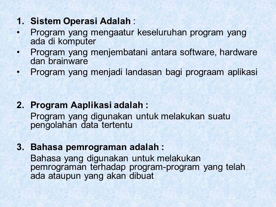 1.Sistem Operasi Adalah : Program yang mengaatur keseluruhan program yang ada di komputer Program yang menjembatani antara software, hardware dan brai