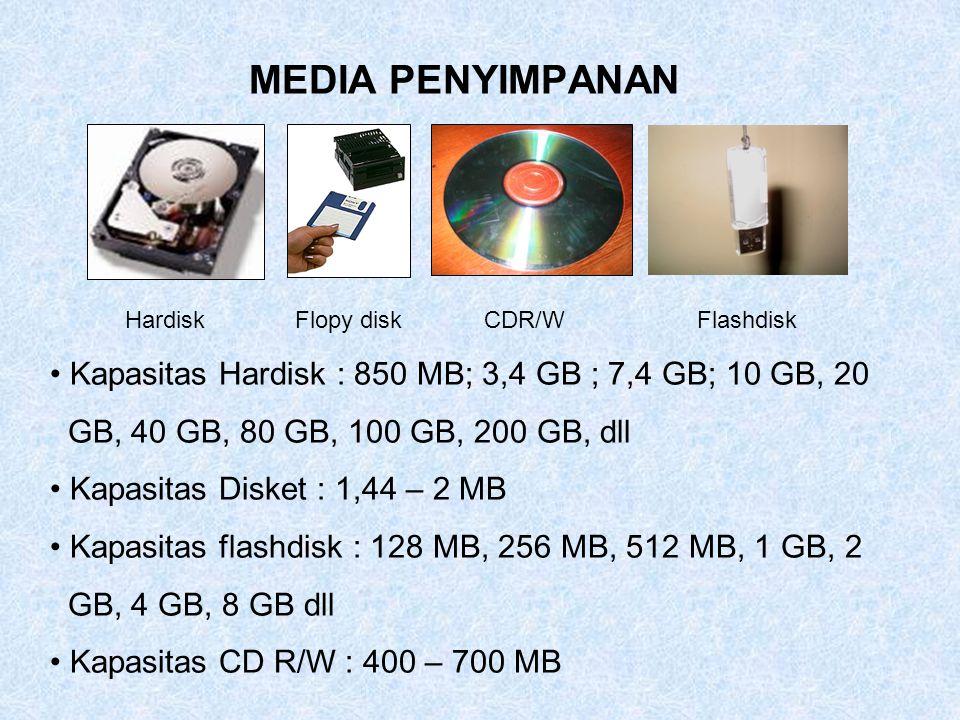 MEDIA PENYIMPANAN HardiskFlopy diskCDR/WFlashdisk Kapasitas Hardisk : 850 MB; 3,4 GB ; 7,4 GB; 10 GB, 20 GB, 40 GB, 80 GB, 100 GB, 200 GB, dll Kapasit