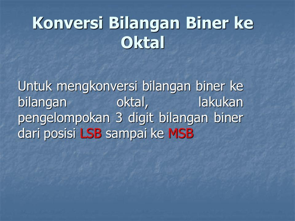 Konversi Bilangan Biner ke Oktal Untuk mengkonversi bilangan biner ke bilangan oktal, lakukan pengelompokan 3 digit bilangan biner dari posisi LSB sampai ke MSB