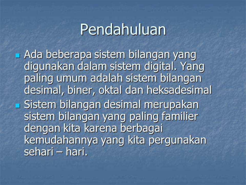 Pendahuluan Ada beberapa sistem bilangan yang digunakan dalam sistem digital. Yang paling umum adalah sistem bilangan desimal, biner, oktal dan heksad