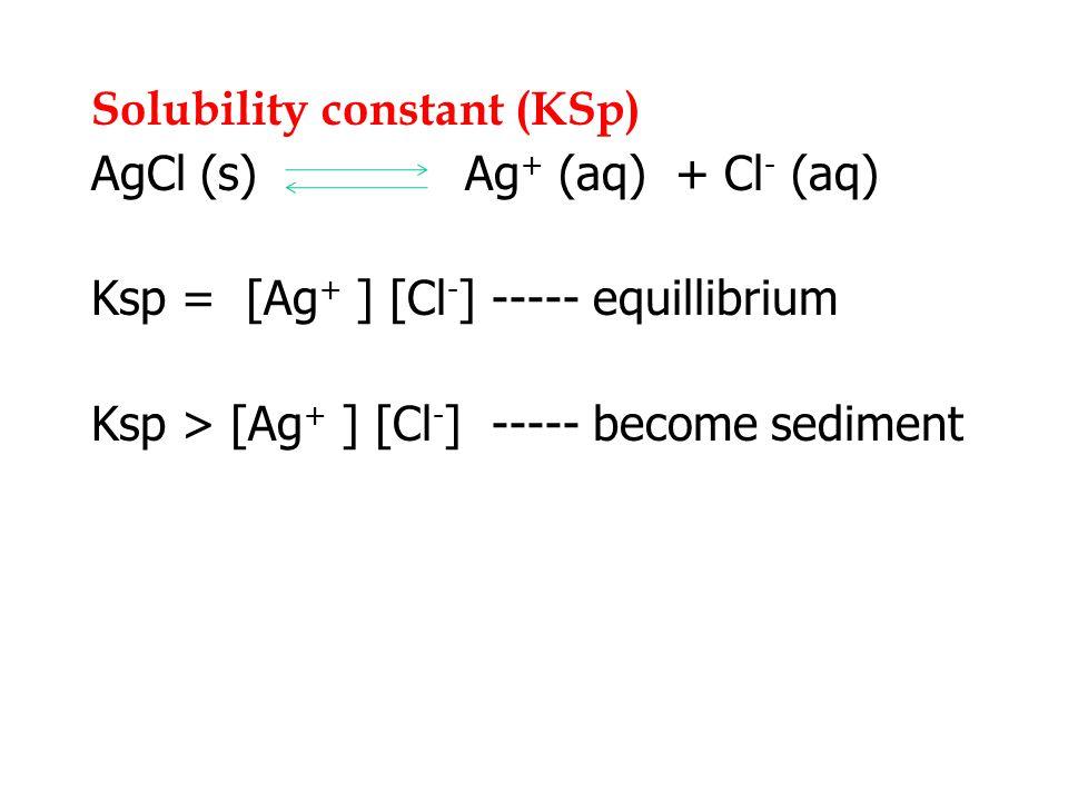 Solubility constant (KSp) AgCl (s) Ag + (aq) + Cl - (aq) Ksp = [Ag + ] [Cl - ] ----- equillibrium Ksp > [Ag + ] [Cl - ] ----- become sediment