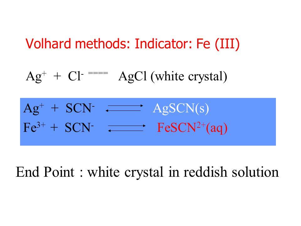 Volhard methods: Indicator: Fe (III) Ag + + Cl - ==== AgCl (white crystal) Ag + + SCN - AgSCN(s) Fe 3+ + SCN - FeSCN 2+ (aq) End Point : white crystal in reddish solution
