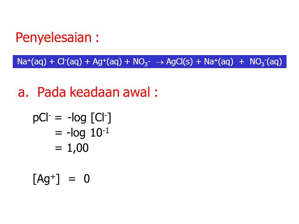 pCl - = -log [Cl - ] = -log 10 -1 = 1,00 [Ag + ] = 0 a.