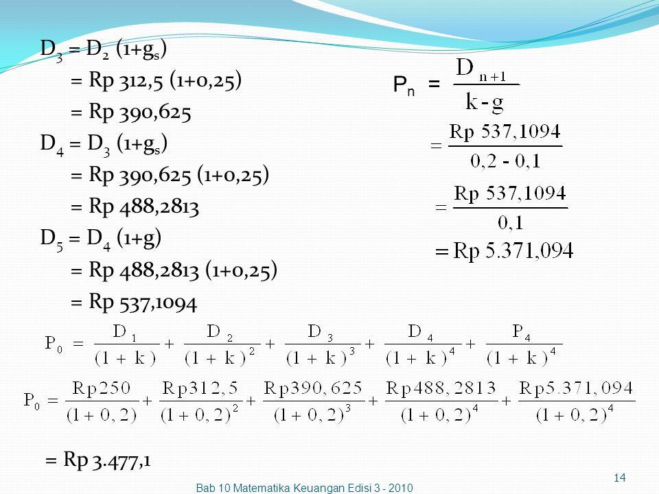 Bab 10 Matematika Keuangan Edisi 3 - 2010 14 D 3 = D 2 (1+g s ) = Rp 312,5 (1+0,25) = Rp 390,625 D 4 = D 3 (1+g s ) = Rp 390,625 (1+0,25) = Rp 488,281