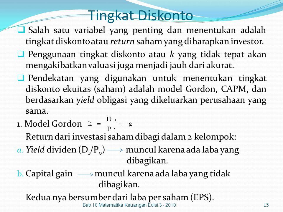 Tingkat Diskonto  Salah satu variabel yang penting dan menentukan adalah tingkat diskonto atau return saham yang diharapkan investor.  Penggunaan ti