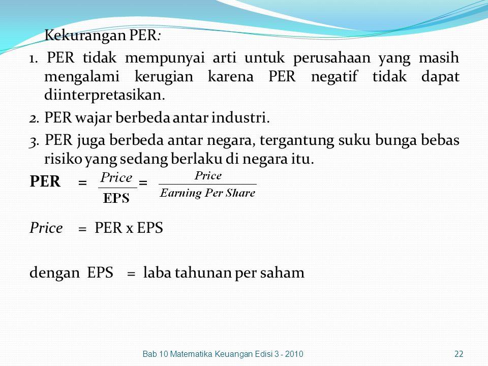 Kekurangan PER: 1. PER tidak mempunyai arti untuk perusahaan yang masih mengalami kerugian karena PER negatif tidak dapat diinterpretasikan. 2. PER wa