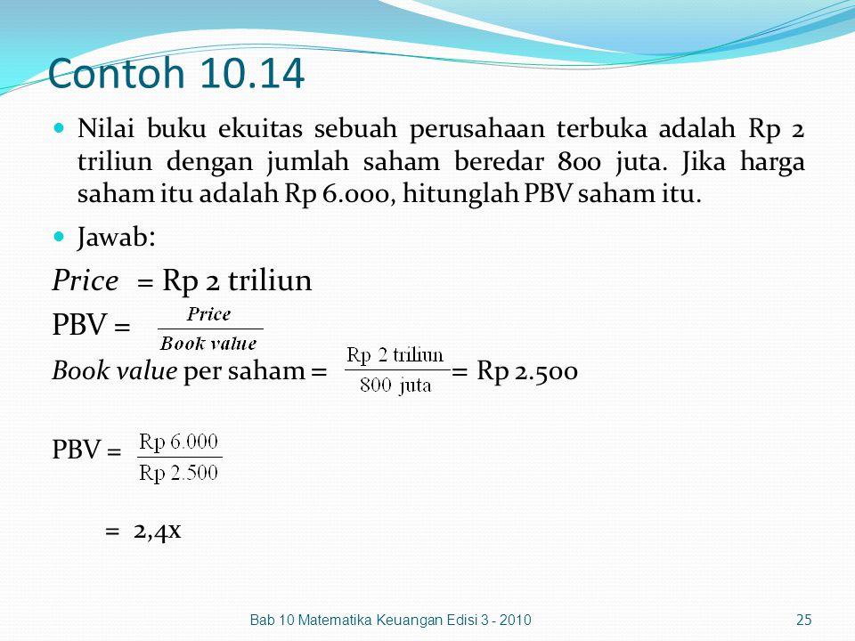 Contoh 10.14 Nilai buku ekuitas sebuah perusahaan terbuka adalah Rp 2 triliun dengan jumlah saham beredar 800 juta. Jika harga saham itu adalah Rp 6.0