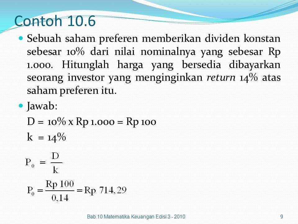 Contoh 10.6 Sebuah saham preferen memberikan dividen konstan sebesar 10% dari nilai nominalnya yang sebesar Rp 1.000. Hitunglah harga yang bersedia di