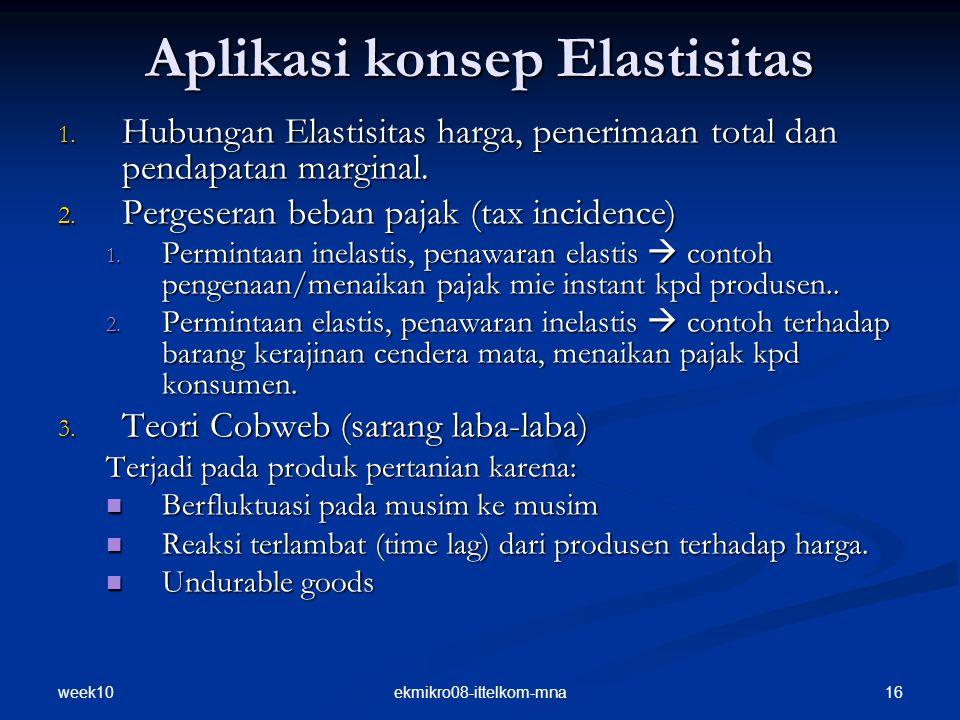 week10 16ekmikro08-ittelkom-mna Aplikasi konsep Elastisitas 1. Hubungan Elastisitas harga, penerimaan total dan pendapatan marginal. 2. Pergeseran beb