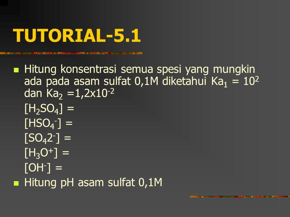 TUTORIAL-5.1 Hitung konsentrasi semua spesi yang mungkin ada pada asam sulfat 0,1M diketahui Ka 1 = 10 2 dan Ka 2 =1,2x10 -2 [H 2 SO 4 ] = [HSO 4 - ]
