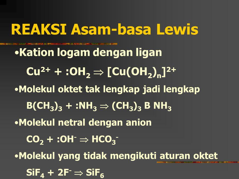 REAKSI Asam-basa Lewis Kation logam dengan ligan Cu 2+ + :OH 2  [Cu(OH 2 ) n ] 2+ Molekul oktet tak lengkap jadi lengkap B(CH 3 ) 3 + :NH 3  (CH 3 )