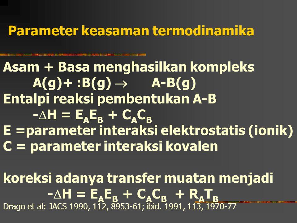 Parameter keasaman termodinamika Asam + Basa menghasilkan kompleks A(g)+ :B(g)  A-B(g) Entalpi reaksi pembentukan A-B -  H = E A E B + C A C B E =pa
