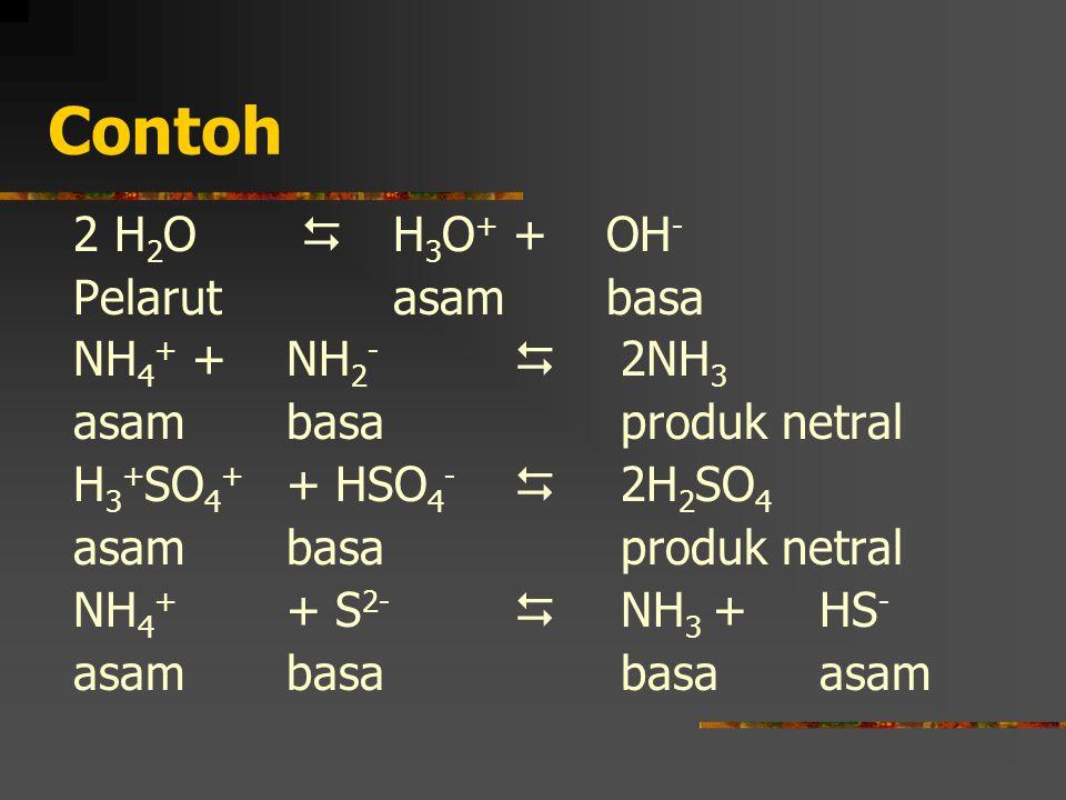 Contoh 2 H 2 O  H 3 O + +OH - Pelarutasambasa NH 4 + + NH 2 -  2NH 3 asambasa produk netral H 3 + SO 4 + + HSO 4 -  2H 2 SO 4 asambasa produk netra