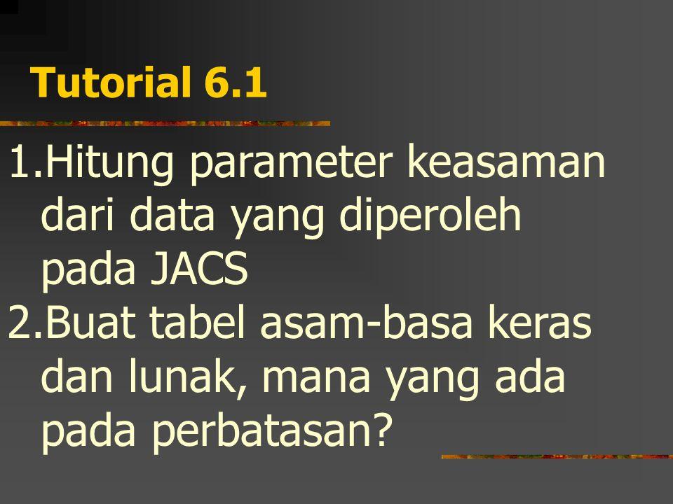 Tutorial 6.1 1.Hitung parameter keasaman dari data yang diperoleh pada JACS 2.Buat tabel asam-basa keras dan lunak, mana yang ada pada perbatasan?