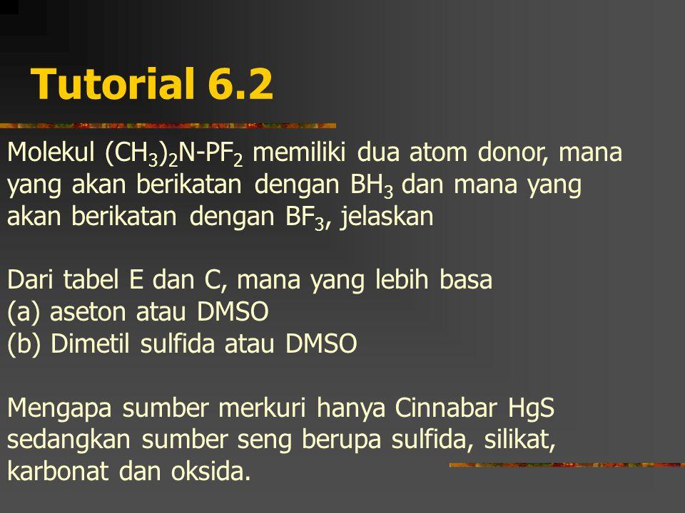 Tutorial 6.2 Molekul (CH 3 ) 2 N-PF 2 memiliki dua atom donor, mana yang akan berikatan dengan BH 3 dan mana yang akan berikatan dengan BF 3, jelaskan