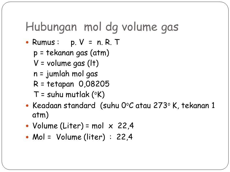 Hubungan mol dg volume gas Rumus : p.V = n. R.