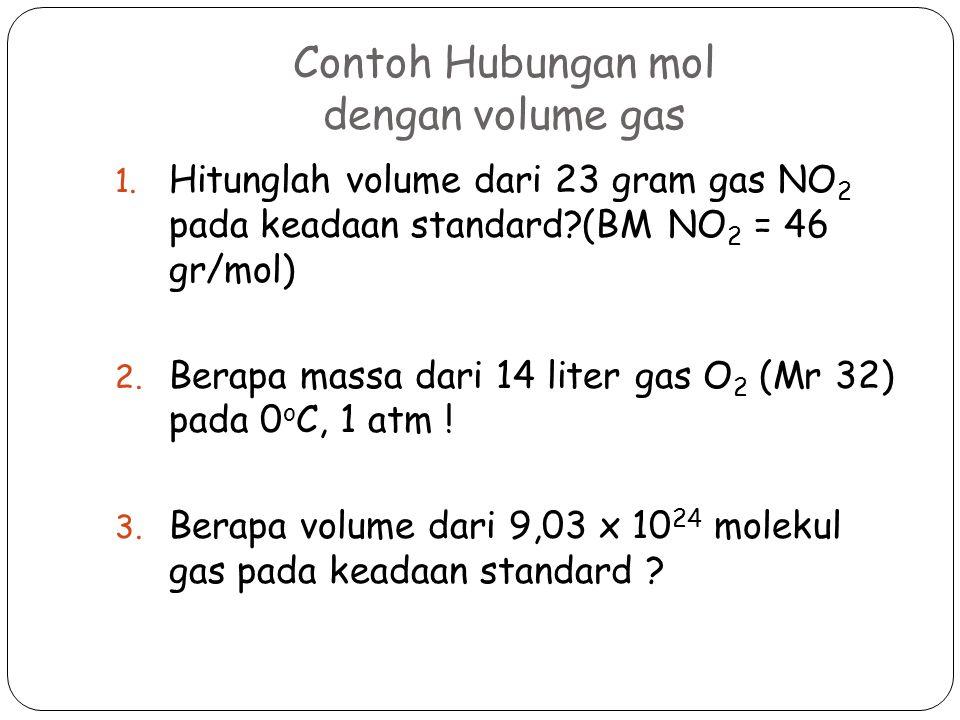 Contoh Hubungan mol dengan volume gas 1. Hitunglah volume dari 23 gram gas NO 2 pada keadaan standard?(BM NO 2 = 46 gr/mol) 2. Berapa massa dari 14 li
