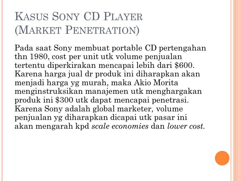 K ASUS S ONY CD P LAYER (M ARKET P ENETRATION ) Pada saat Sony membuat portable CD pertengahan thn 1980, cost per unit utk volume penjualan tertentu diperkirakan mencapai lebih dari $600.