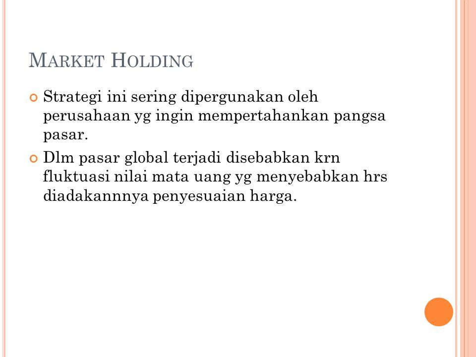 M ARKET H OLDING Strategi ini sering dipergunakan oleh perusahaan yg ingin mempertahankan pangsa pasar.