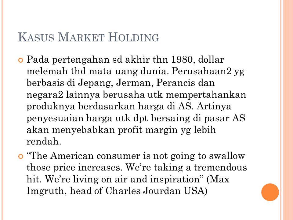 K ASUS M ARKET H OLDING Pada pertengahan sd akhir thn 1980, dollar melemah thd mata uang dunia.