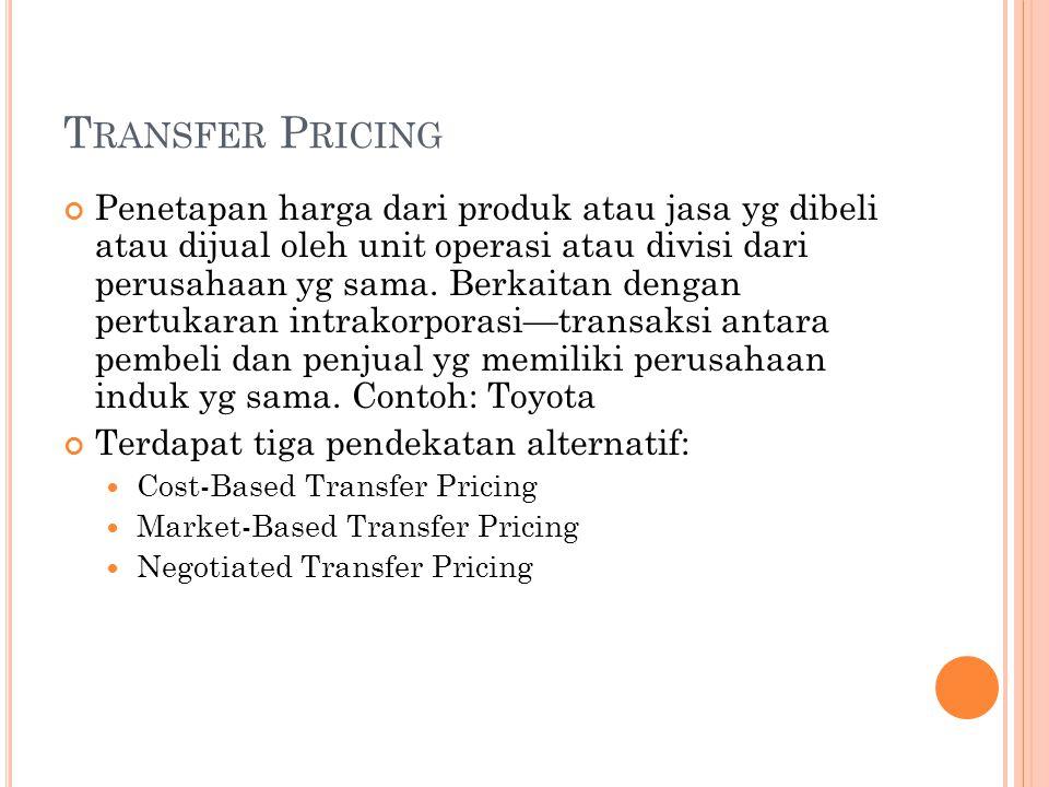 T RANSFER P RICING Penetapan harga dari produk atau jasa yg dibeli atau dijual oleh unit operasi atau divisi dari perusahaan yg sama.