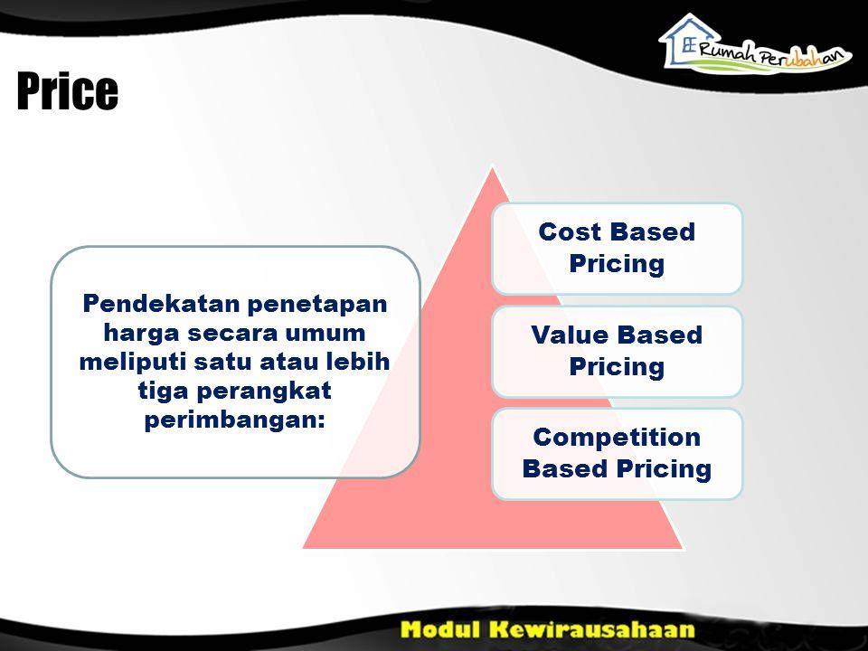 Cost Based Pricing Value Based Pricing Competition Based Pricing Pendekatan penetapan harga secara umum meliputi satu atau lebih tiga perangkat perimbangan: Price