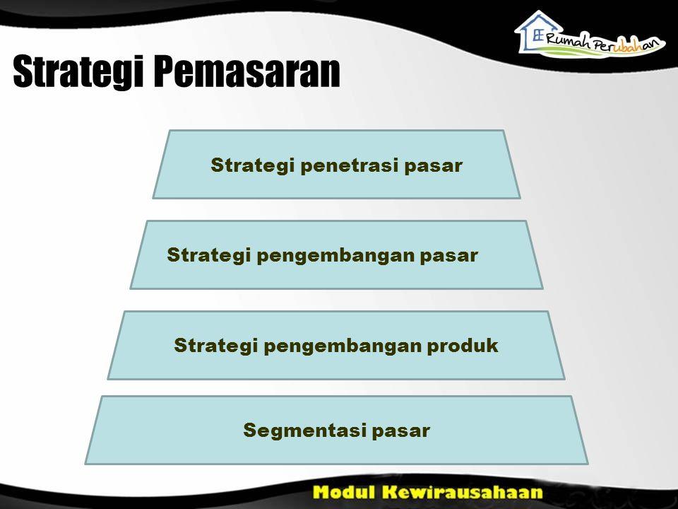 Strategi Pemasaran Strategi penetrasi pasar Strategi pengembangan pasar Strategi pengembangan produk Segmentasi pasar