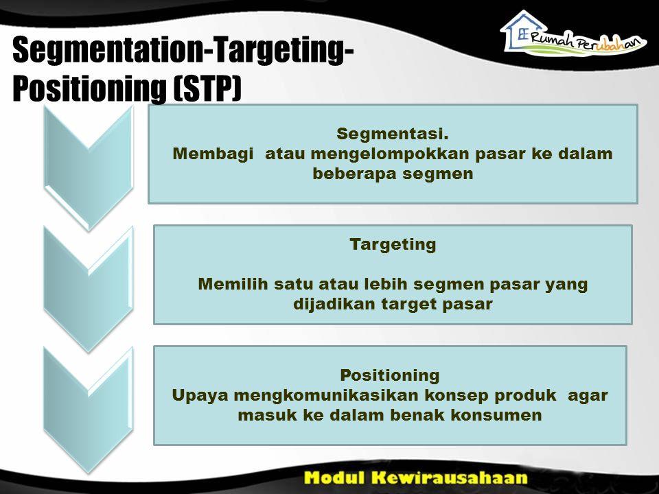 Segmentasi. Membagi atau mengelompokkan pasar ke dalam beberapa segmen Targeting Memilih satu atau lebih segmen pasar yang dijadikan target pasar Posi