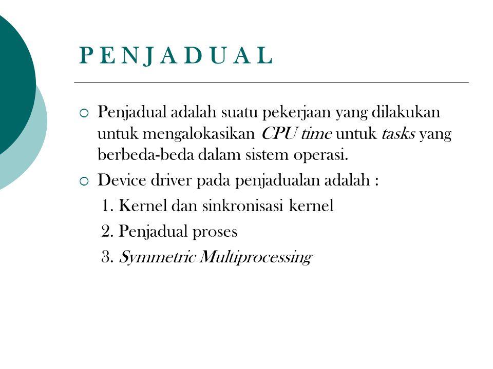 P E N J A D U A L  Penjadual adalah suatu pekerjaan yang dilakukan untuk mengalokasikan CPU time untuk tasks yang berbeda-beda dalam sistem operasi.