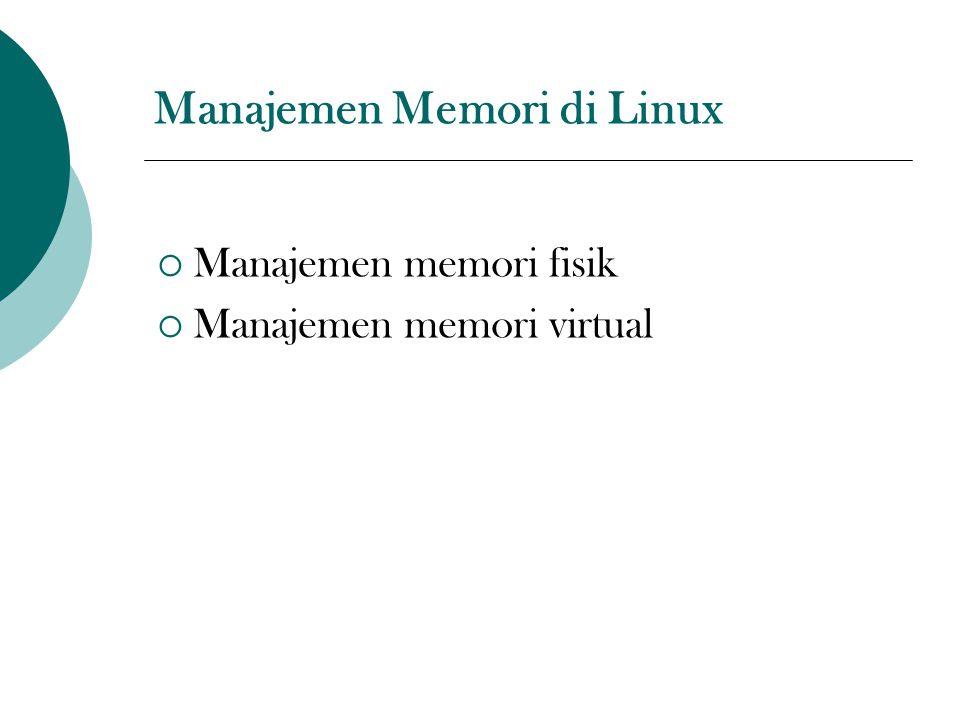 Manajemen Memori di Linux  Manajemen memori fisik  Manajemen memori virtual
