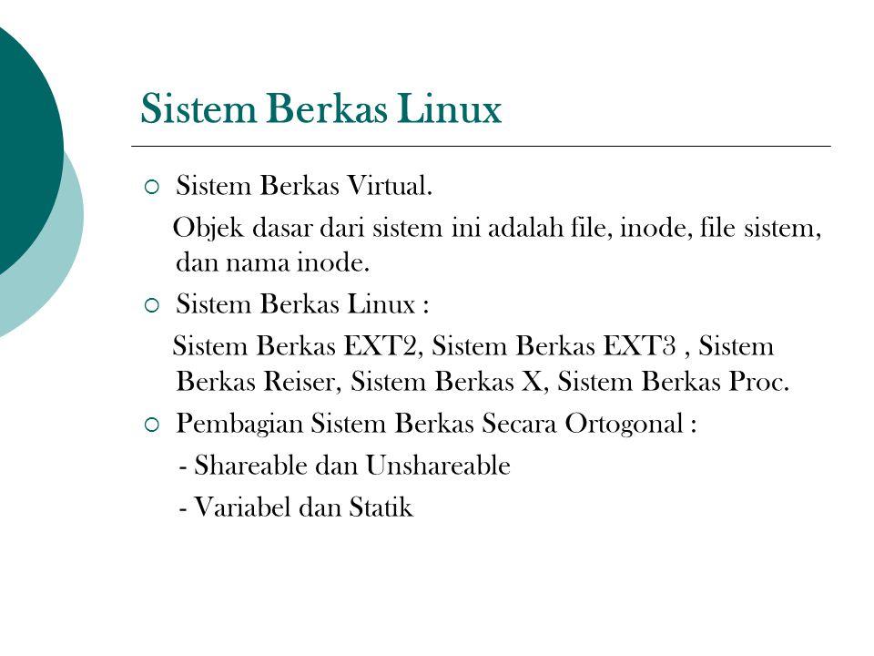 Sistem Berkas Linux  Sistem Berkas Virtual. Objek dasar dari sistem ini adalah file, inode, file sistem, dan nama inode.  Sistem Berkas Linux : Sist