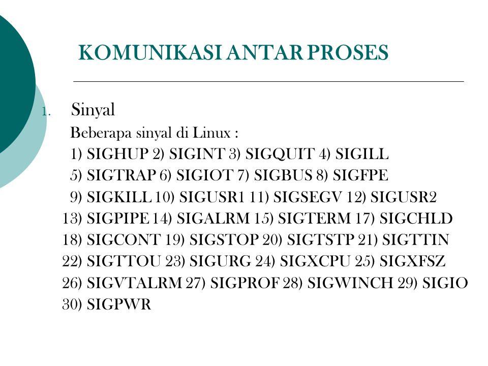 KOMUNIKASI ANTAR PROSES 1. Sinyal Beberapa sinyal di Linux : 1) SIGHUP 2) SIGINT 3) SIGQUIT 4) SIGILL 5) SIGTRAP 6) SIGIOT 7) SIGBUS 8) SIGFPE 9) SIGK