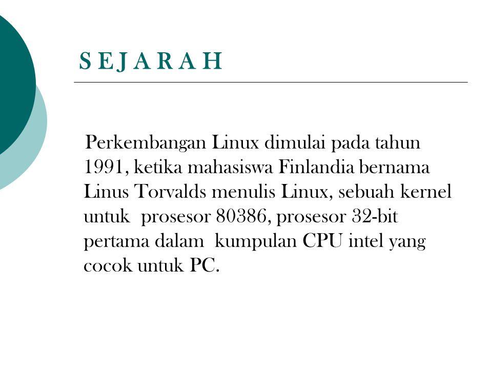 S E J A R A H Perkembangan Linux dimulai pada tahun 1991, ketika mahasiswa Finlandia bernama Linus Torvalds menulis Linux, sebuah kernel untuk proseso