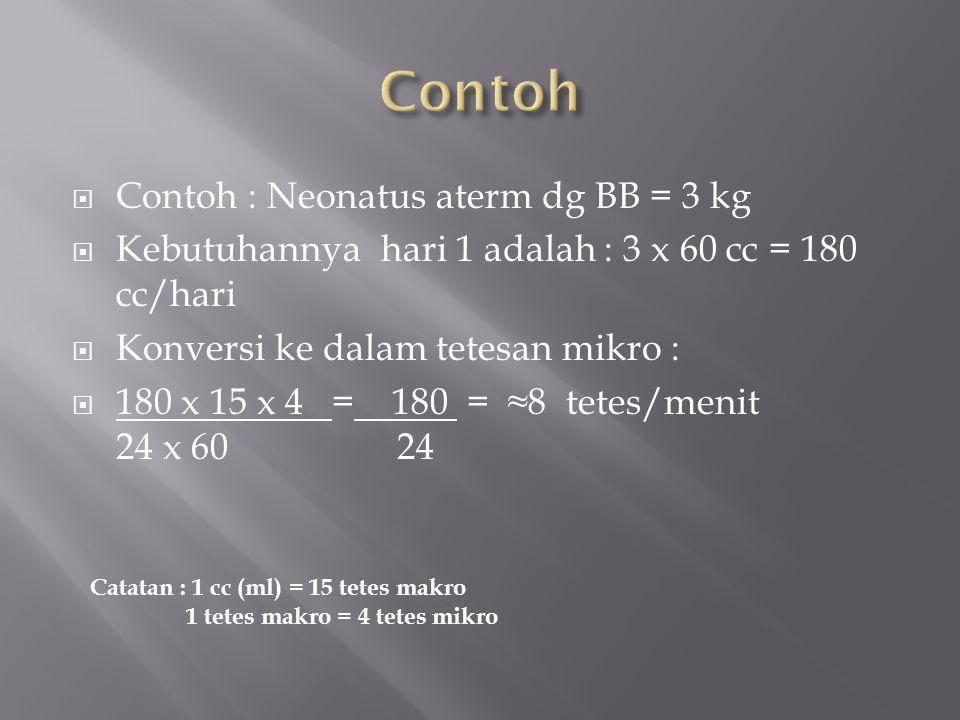  Contoh : Neonatus aterm dg BB = 3 kg  Kebutuhannya hari 1 adalah : 3 x 60 cc = 180 cc/hari  Konversi ke dalam tetesan mikro :  180 x 15 x 4 = 180