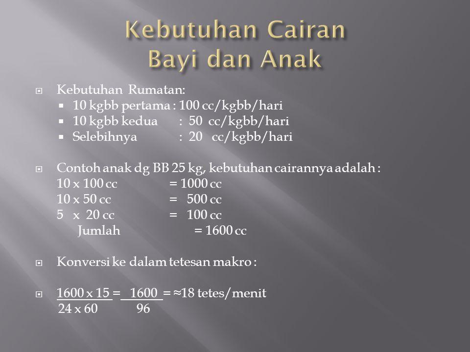  Kebutuhan Rumatan:  10 kgbb pertama : 100 cc/kgbb/hari  10 kgbb kedua : 50 cc/kgbb/hari  Selebihnya : 20 cc/kgbb/hari  Contoh anak dg BB 25 kg,