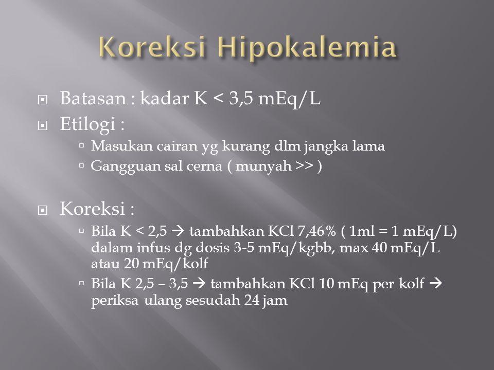  Batasan : kadar K < 3,5 mEq/L  Etilogi :  Masukan cairan yg kurang dlm jangka lama  Gangguan sal cerna ( munyah >> )  Koreksi :  Bila K < 2,5 