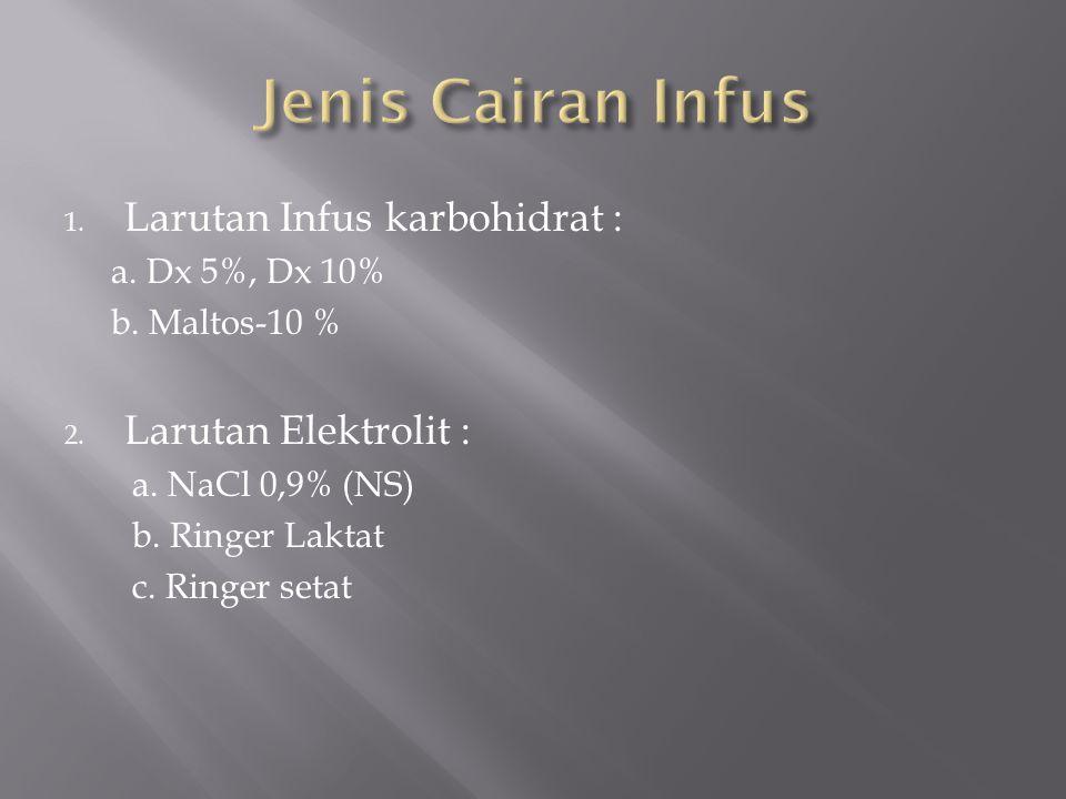 1. Larutan Infus karbohidrat : a. Dx 5%, Dx 10% b. Maltos-10 % 2. Larutan Elektrolit : a. NaCl 0,9% (NS) b. Ringer Laktat c. Ringer setat