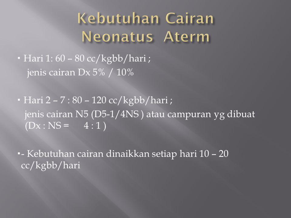  Hari 1: 60 – 80 cc/kgbb/hari ; jenis cairan Dx 5% / 10%  Hari 2 – 7 : 80 – 120 cc/kgbb/hari ; jenis cairan N5 (D5-1/4NS ) atau campuran yg dibuat (